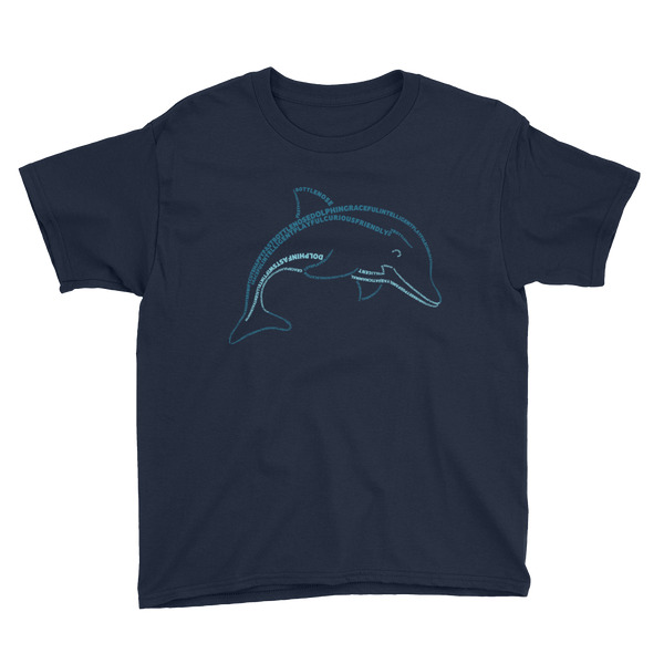 Dolphin Type Figure Youth Short Sleeve T-Shirt - Ink Formation