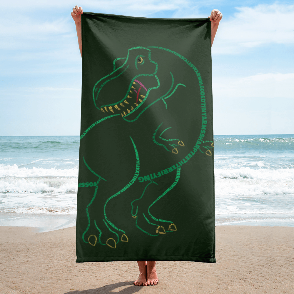 T-Rex Type Figure Beach Towel - Ink Formation