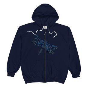 Dragonfly Type Figure Unisex  Zip Hoodie - Ink Formation