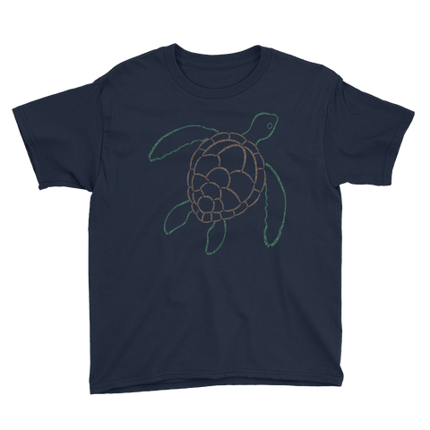 Sea Turtle Type Figure Youth Short Sleeve T-Shirt