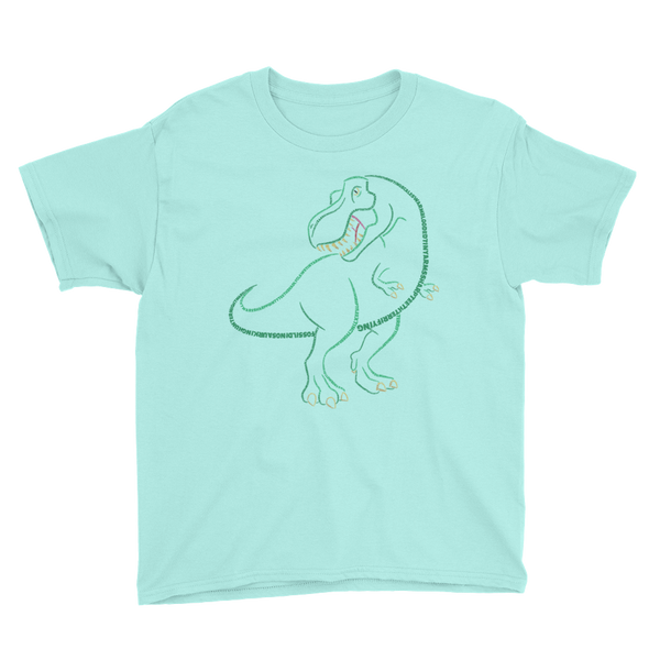 T-Rex Type Figure Youth Short Sleeve T-Shirt - Ink Formation