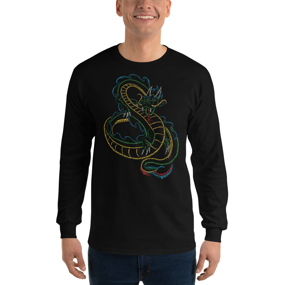 Chinese Dragon Type Figure Long Sleeve T-Shirt - Ink Formation
