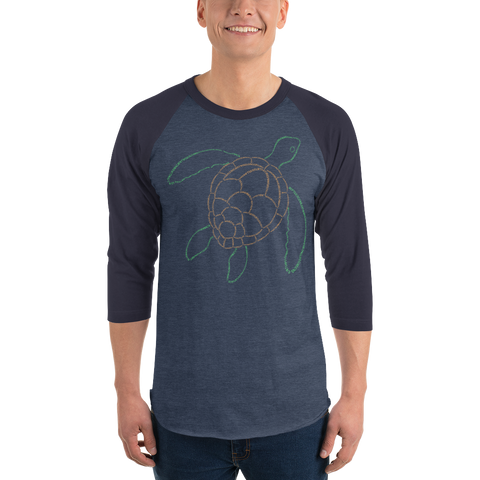 Sea Turtle Type Figure 3/4 sleeve raglan shirt
