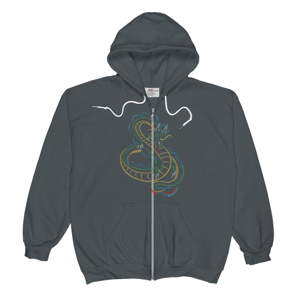 Chinese Dragon Type Figure Unisex  Zip Hoodie - Ink Formation