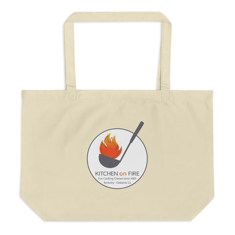 Kitchen on Fire logo Fun cooking school since 2005 Large organic tote bag
