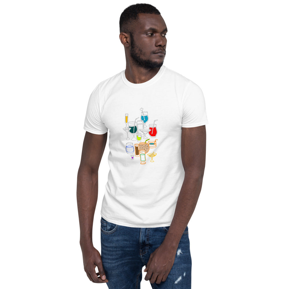 Cocktail Bartender Happy-Hour Drinks Cooking Diner Party BBQ Bar Glass Cool-Chic Fun-Modern Short-Sleeve Unisex T-Shirt-Sleeve Unisex T-Shirt