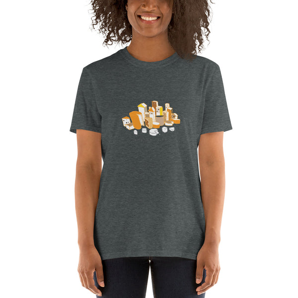 Cheese City Fun Shirt Food Party Cheese-Plate Appetizer Fromage Short-Sleeve Unisex T-Shirt