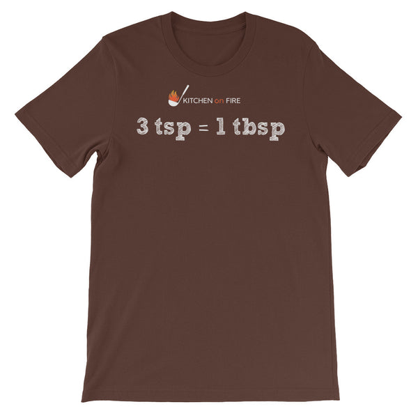 3 tsp = 3 tbsp, Unisex short sleeve t-shirt