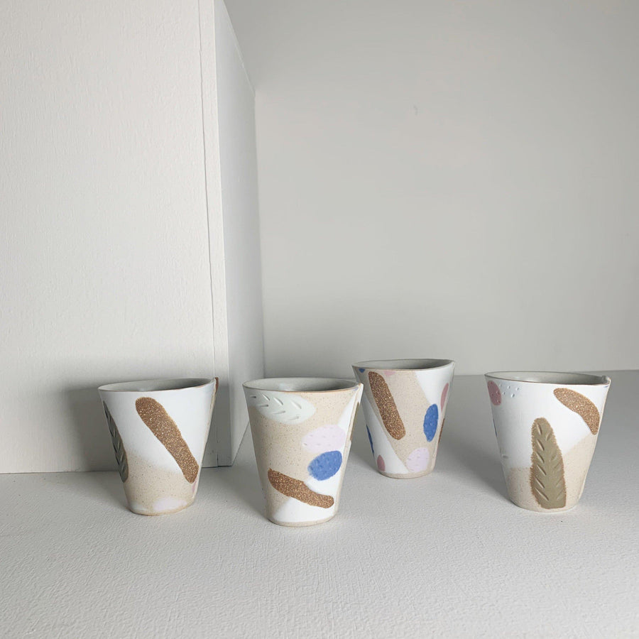 Handmade Ceramic Tumbler with Porcelain Inlay