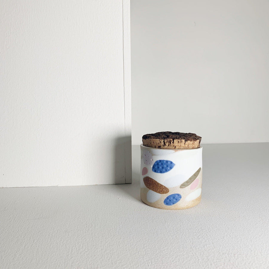 Handmade Ceramic Canister with Porcelain Inlay