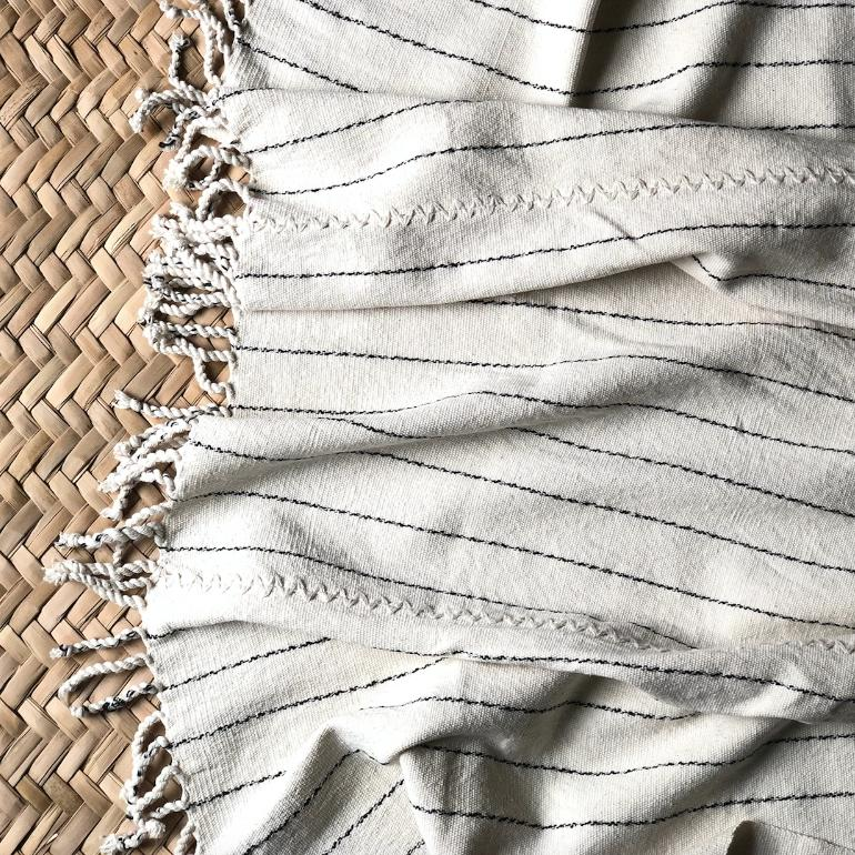 Handwoven Neutral Cotton Throw
