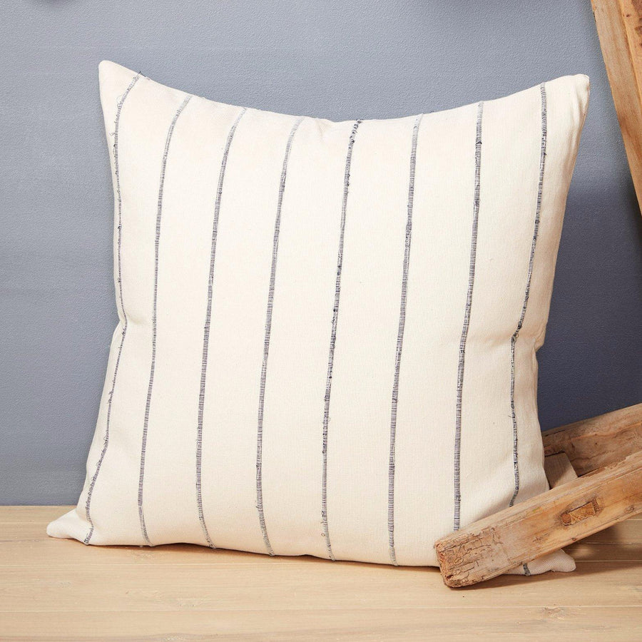Handwoven Recycled Stripe Pillows / Grey