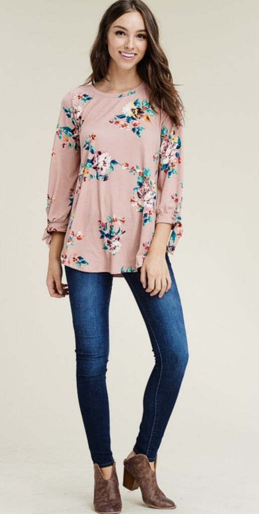Ribbon Sleeve Floral Top