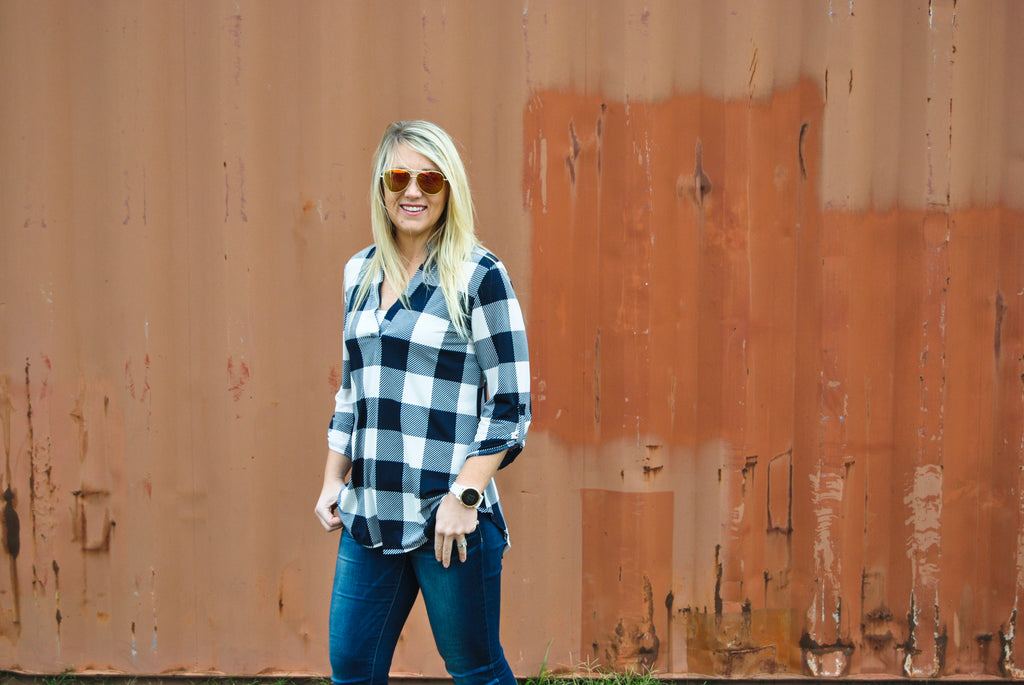 Navy Buffalo Check Blouse