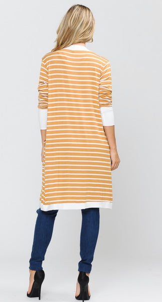 Mustard Striped Midi Open Cardigan