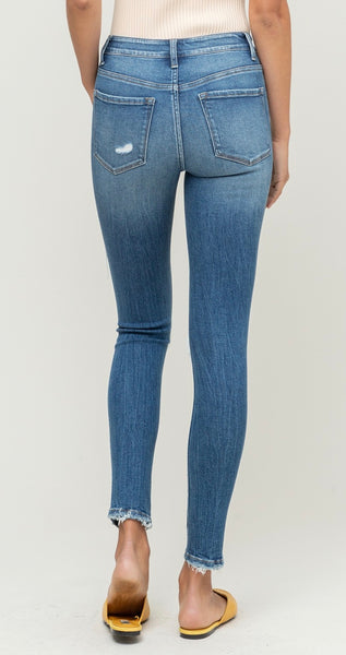 Wave Mid Rise Distress Jeans