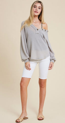 Silver Fox Waffle Knit V neck top