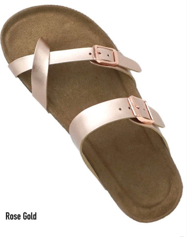 Rose Gold Birk Strap Sandals