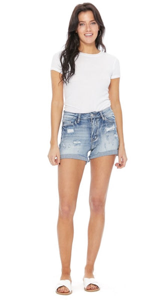 Reagan Light wash denim shorts