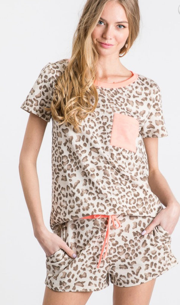 Leopard and Neon Lounge Top