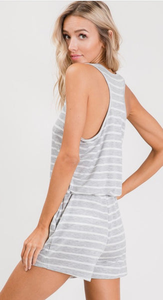 Kennedy Gray Striped Tank Romper