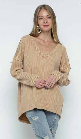 Mila Taupe Vneck Knit Top