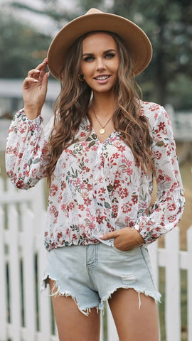 The Felicity Floral V Wrap Blouse