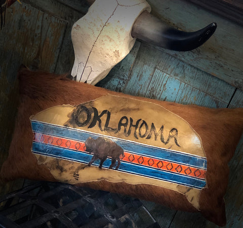 Handpainted Oklahoma Buffalo Pillow