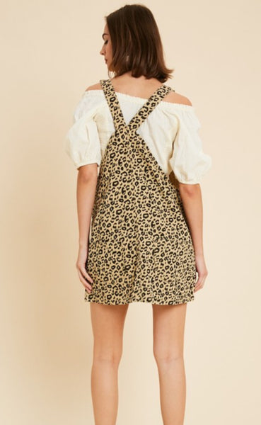 Marry Leopard Denim Overalls