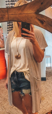 Short Sleeve Stripe Cardigan
