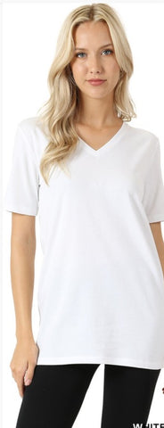 Simple Solid V-neck Tee