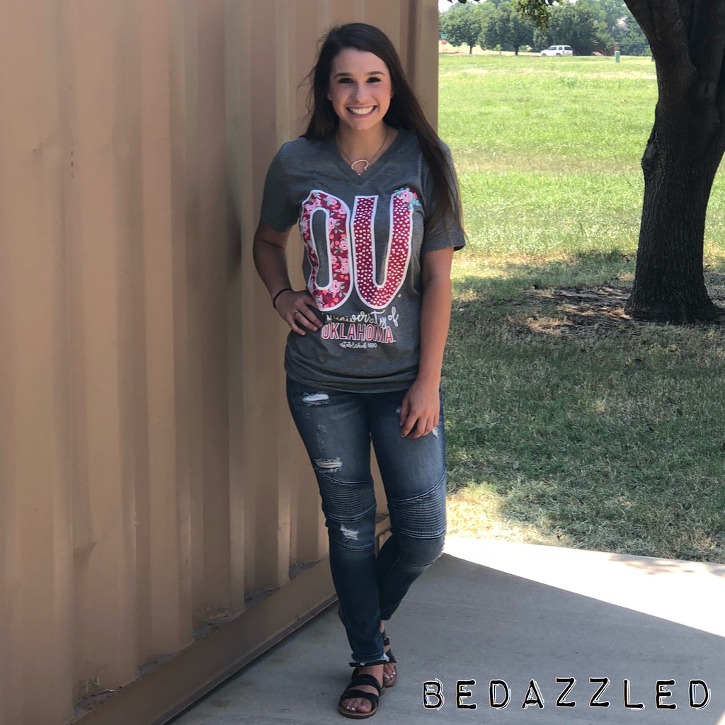 OU confetti and Floral Vneck tee