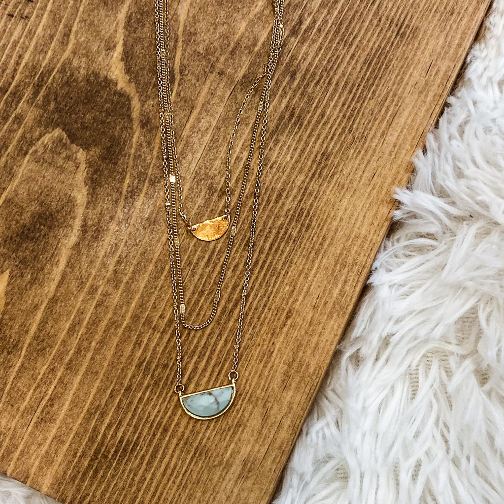 Short Three Strand Dainty Turquoise Necklace Set