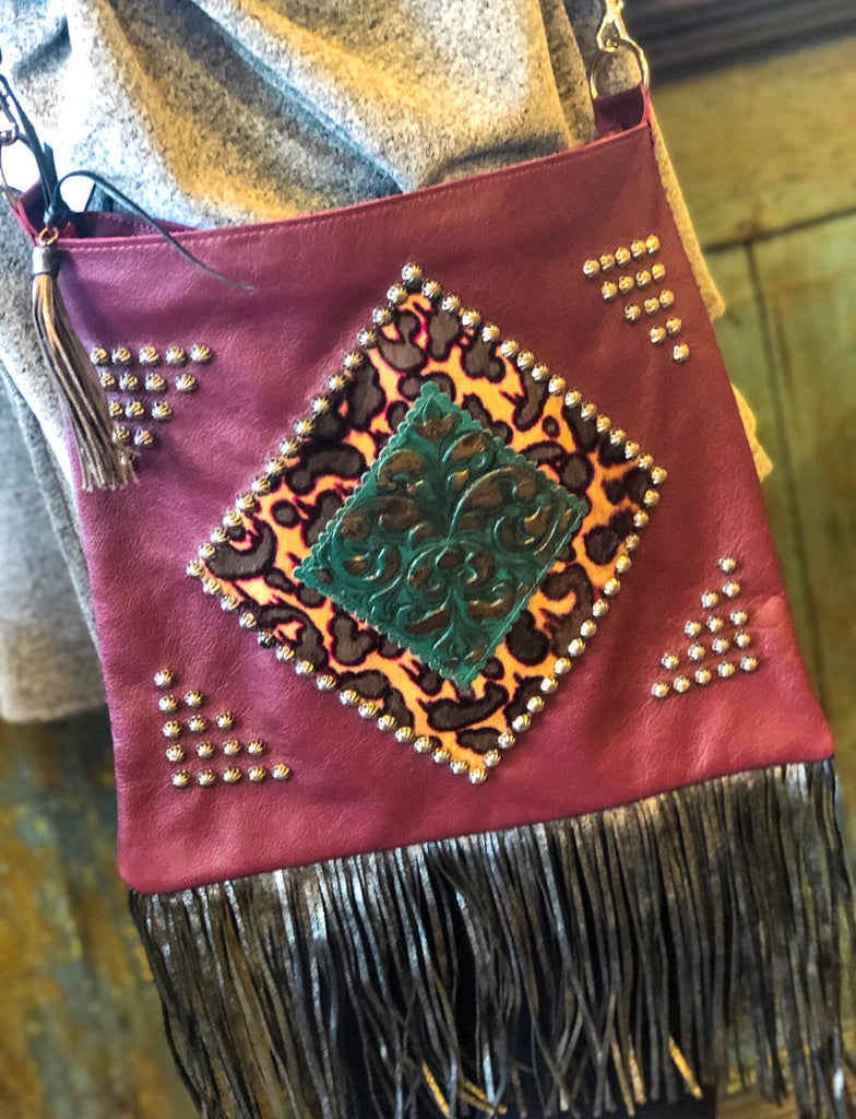 Burgundy Custom Leather Bag w/ Tassels