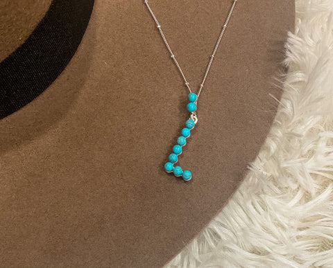 Turquoise Simple Initial Necklace