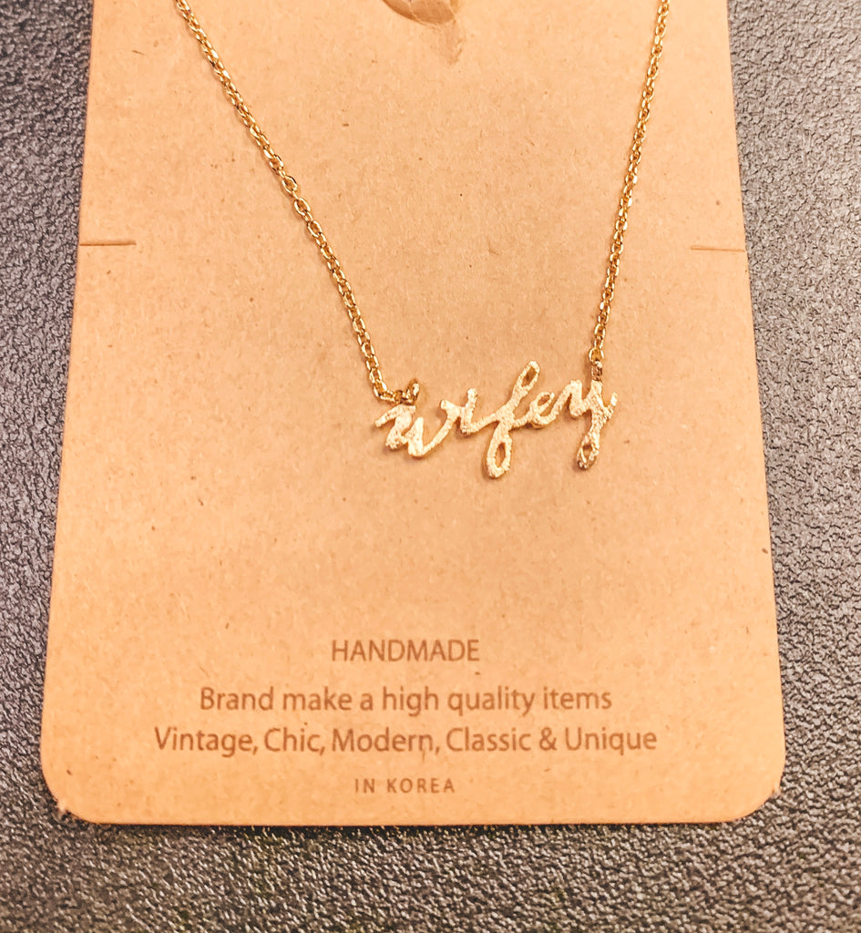 Small Wifey Gold Necklace