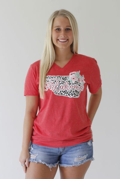 OU Leopard and Floral University Tee