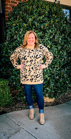 Kenley's Pretty Khaki Leopard Sweater