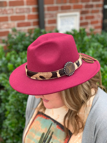 Burgundy Leopard and Louis Vuitton Detail Hat