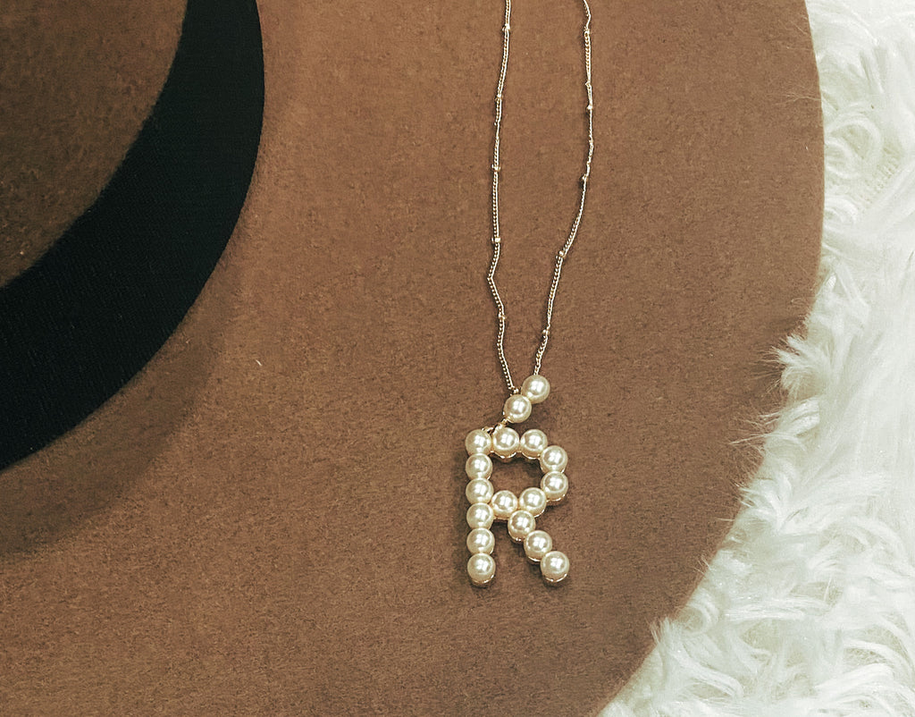 Pearl Simple Initial Necklace