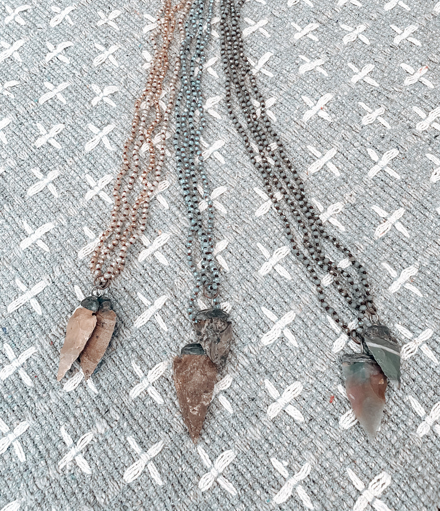 Vintage Arrow Head Beaded Long necklace