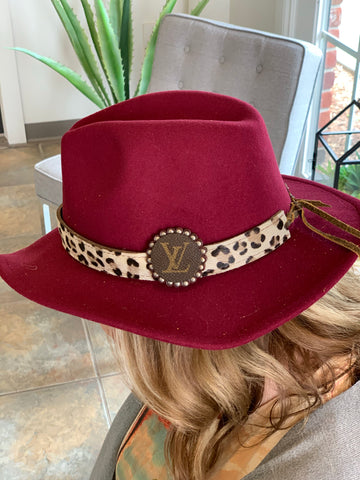 Burgundy Cheetah and Louis Vuitton Detail Hat