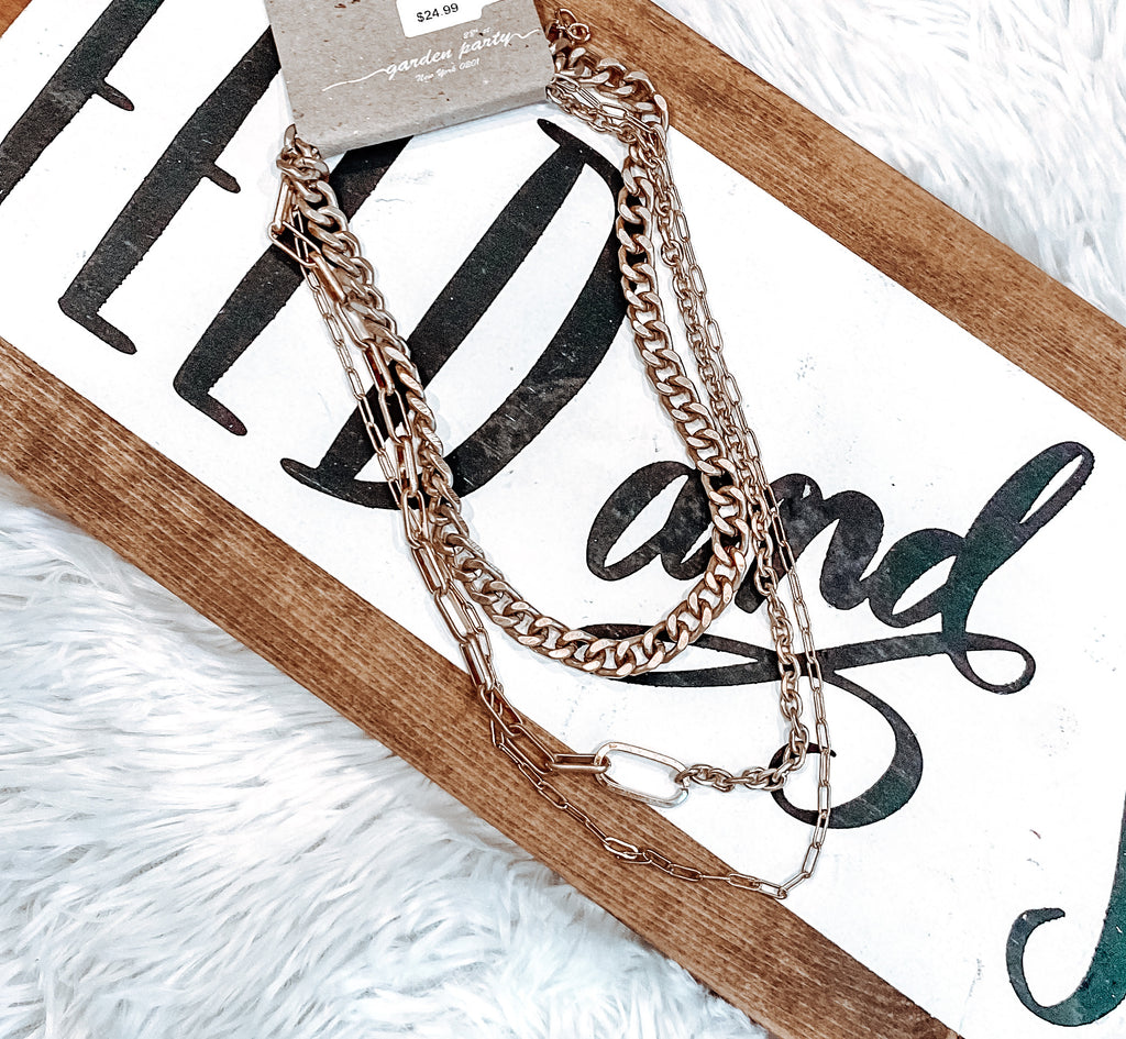 The Laney Triple Gold Chain Necklace Set