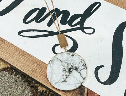 Large White Marble Necklace