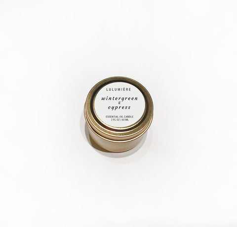 Wintergreen & Cypress Mini 100% Essential Oil Candle