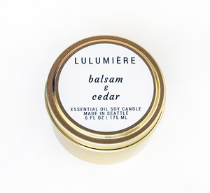 Balsam & Cedar Gold Tin 100% Essential Oil Candle