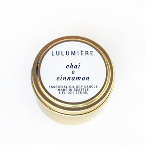 Chai & Cinnamon Gold Tin 100% Essential Oil Candle