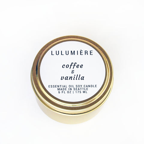 Coffee & Vanilla Gold Tin 100% Essential Oil Candle