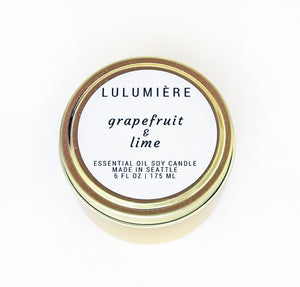 Grapefruit & Lime Gold Tin 100% Essential Oil Candle