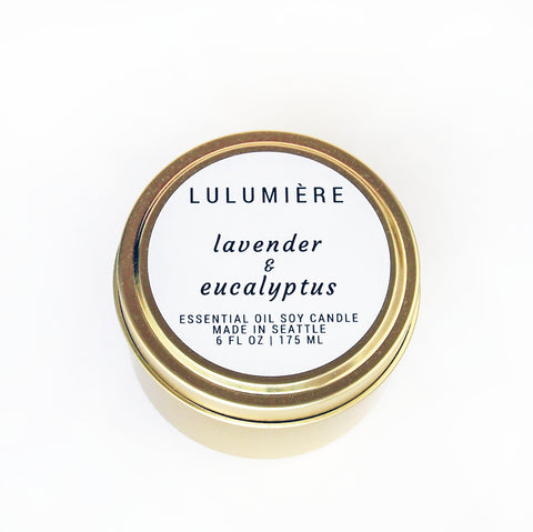Lavender & Eucalyptus Gold Tin 100% Essential Oil Candle